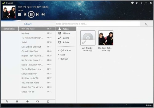 deepin music player on ubuntu