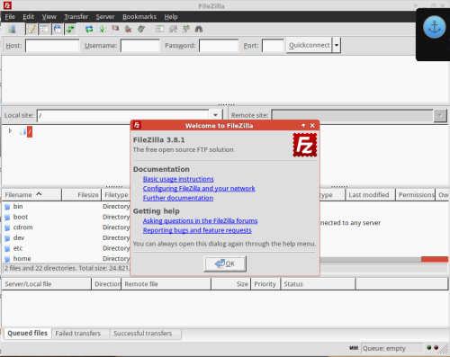 filezilla 3.8.1 on xubuntu 14.04