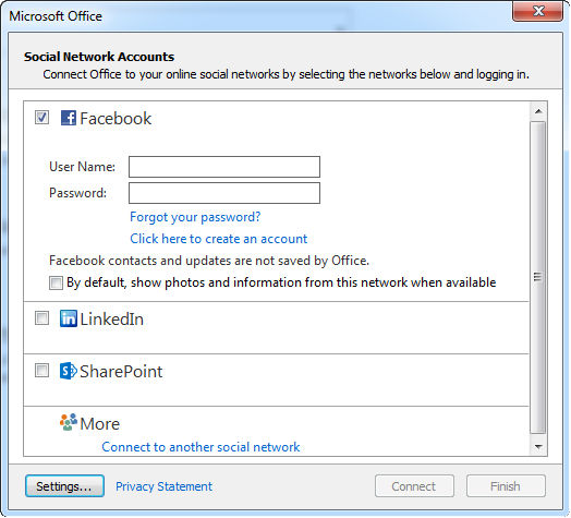 integrate facebook account to outlook 2013 2