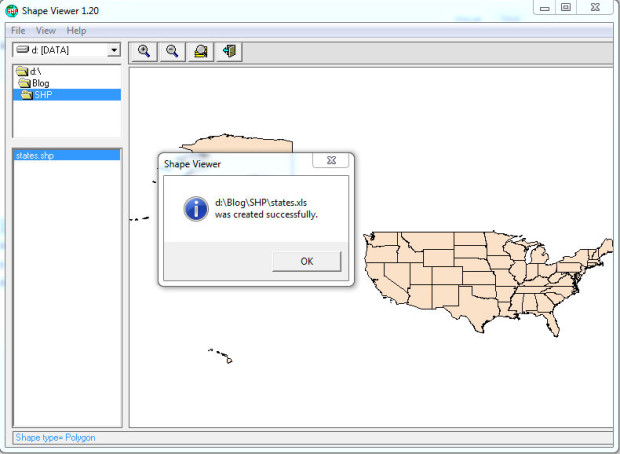 shapeviewer 1.2 export to excel