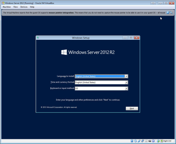 install windows server on virtualbox