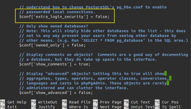 configure phppgadmin