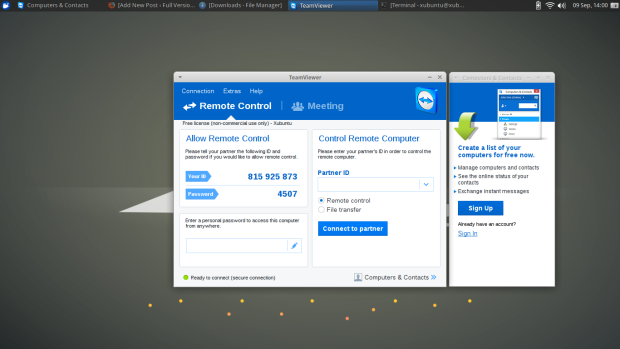 team viewer on xubuntu 15.10