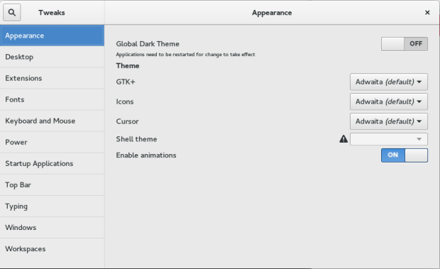 gnome tweak tool on fedora 23
