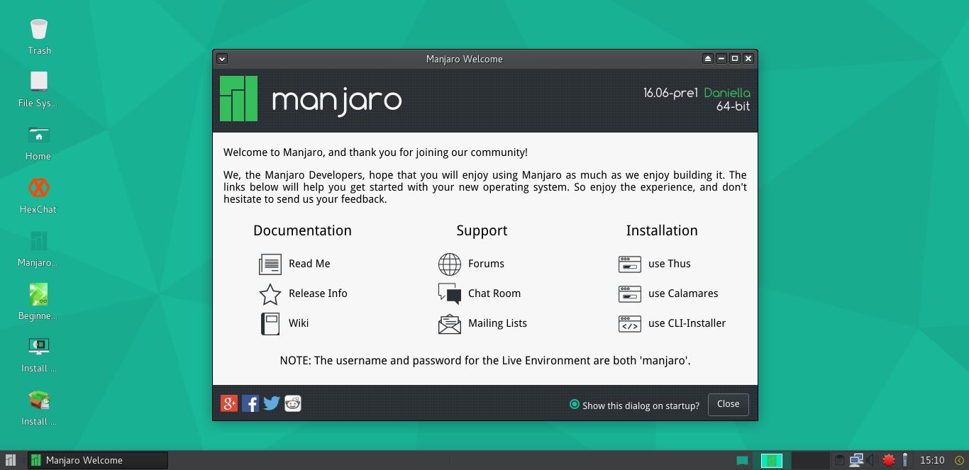 Manjaro 16.06 screenshots 1.png