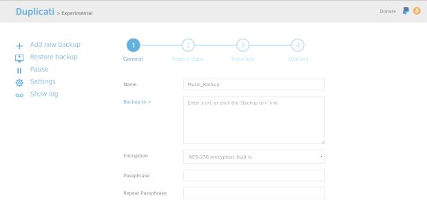 add new backup duplicati 1