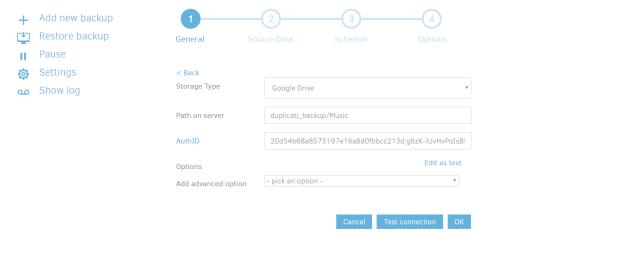 add new backup duplicati 2