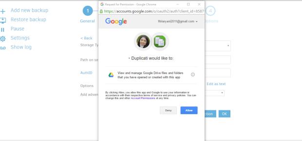 duplicati google drive