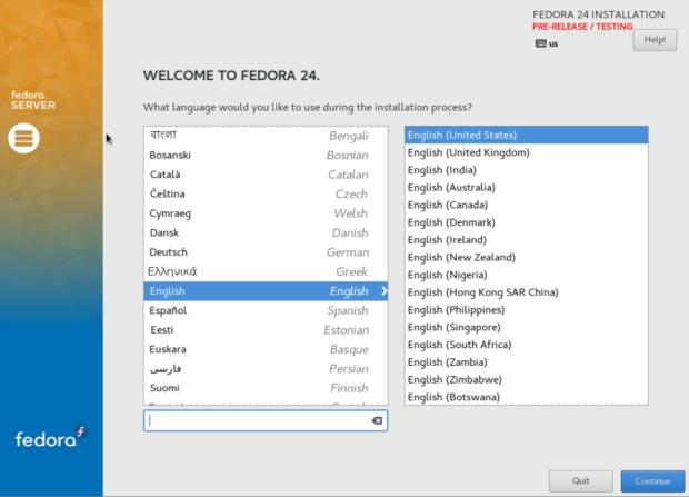 fedora 24 server install 2