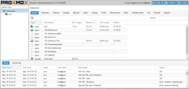 proxmox 4.2.2 screenshot 2