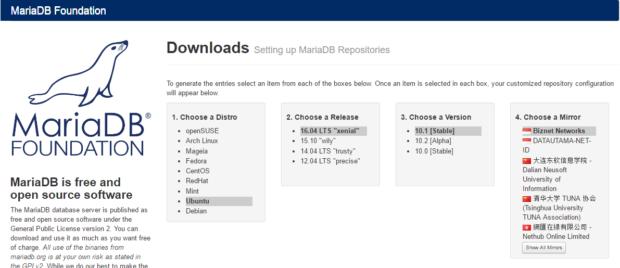 mariadb on ubuntu 16.04