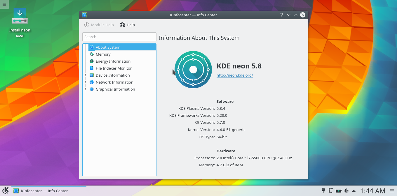 kde neon 5.8 screenshot 1