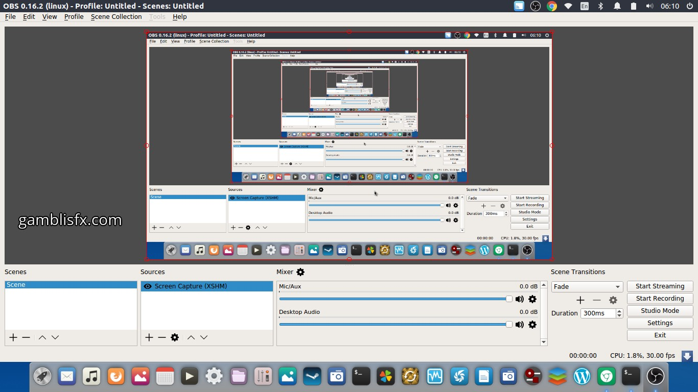 OBS Studio can record entire screen or selected screen if
